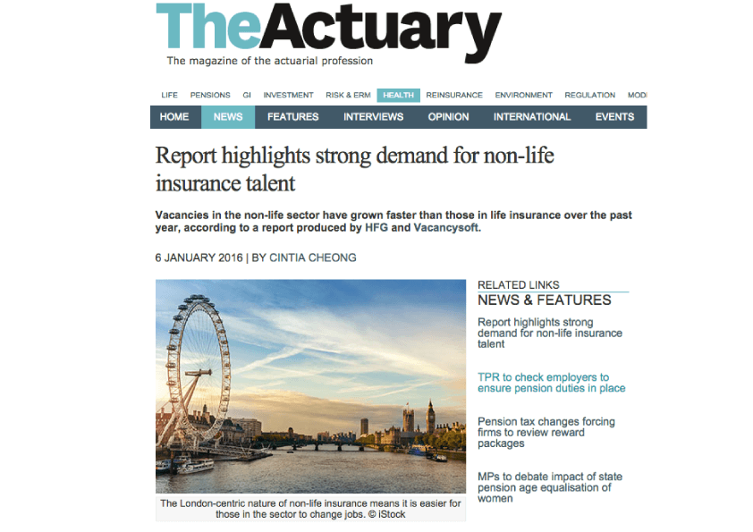 Vacancysoft/ HFG Report on Actuarial Trends Featured in The Actuary
