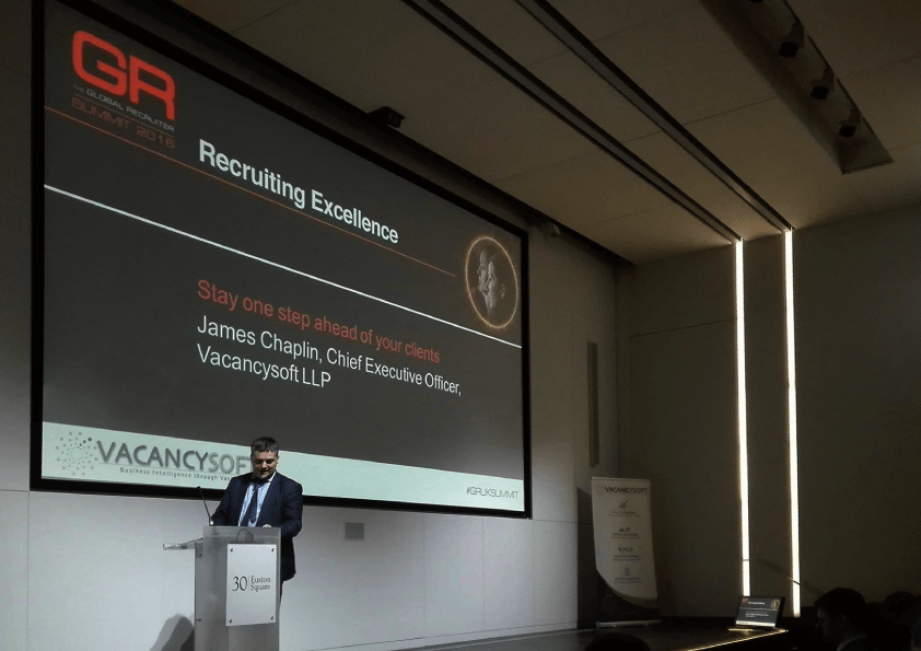 James Chaplin speaks at the Global Recruitment Summit 2016