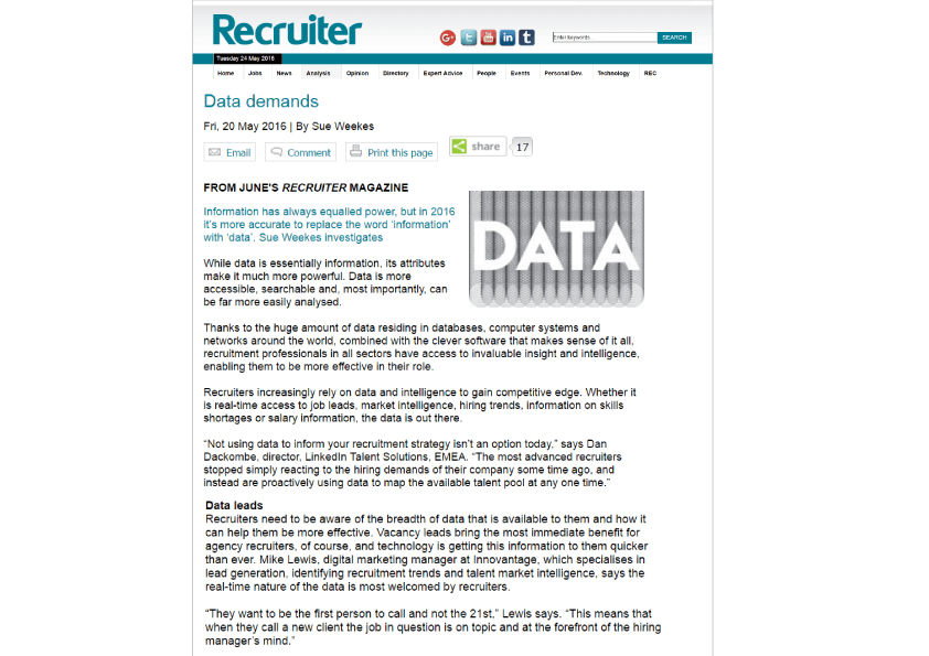 James Chaplin talks about Vacancysoft as a Client Intelligence tool in Recruiter Magazine