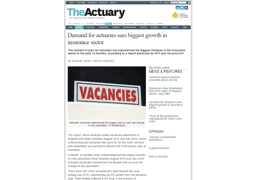 Vacancysoft / HFG Insurance Report featured in The Actuary