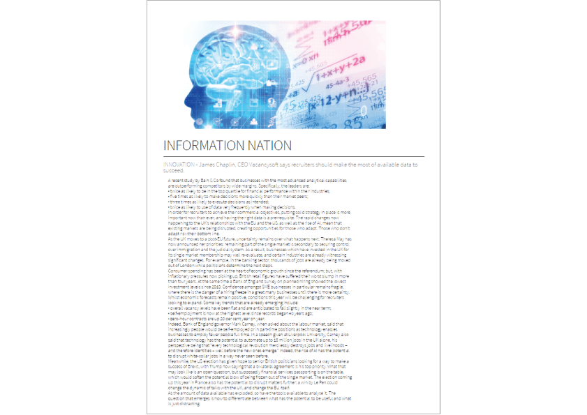 James Chaplin published in The Global Recruiter Magazine