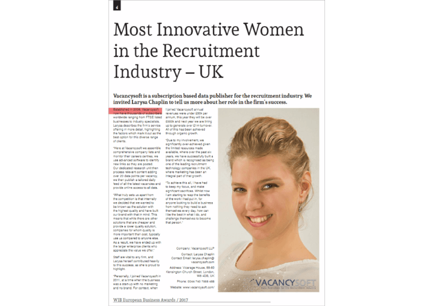 Larysa Chaplin wins award for Most Innovative Woman in the Recruitment Industry – UK