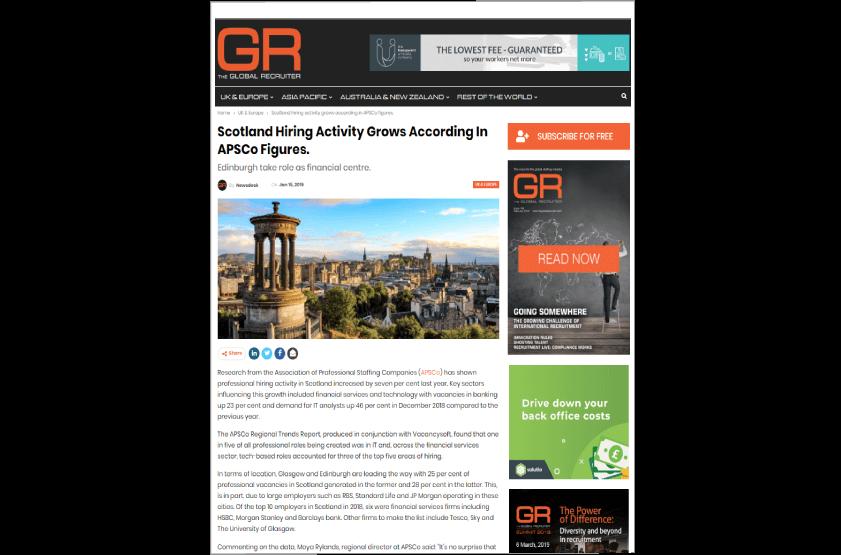 Vacancysoft & APSCO Report Featured In The Global Recruiter
