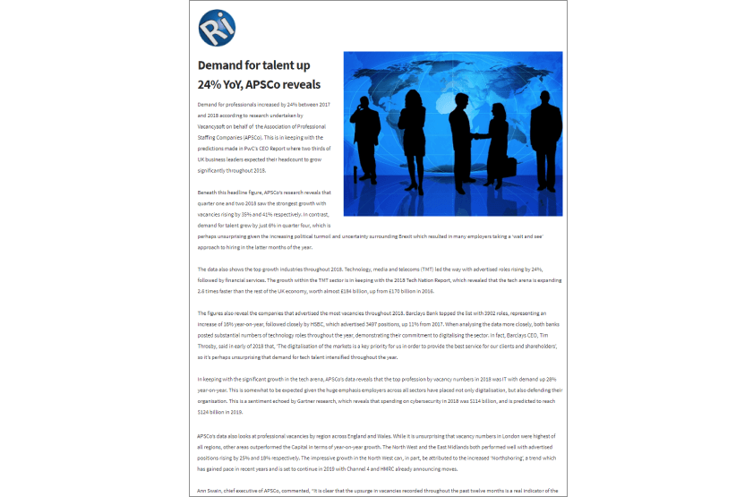 Vacancysoft & APSCO Report Featured In Recruitment International